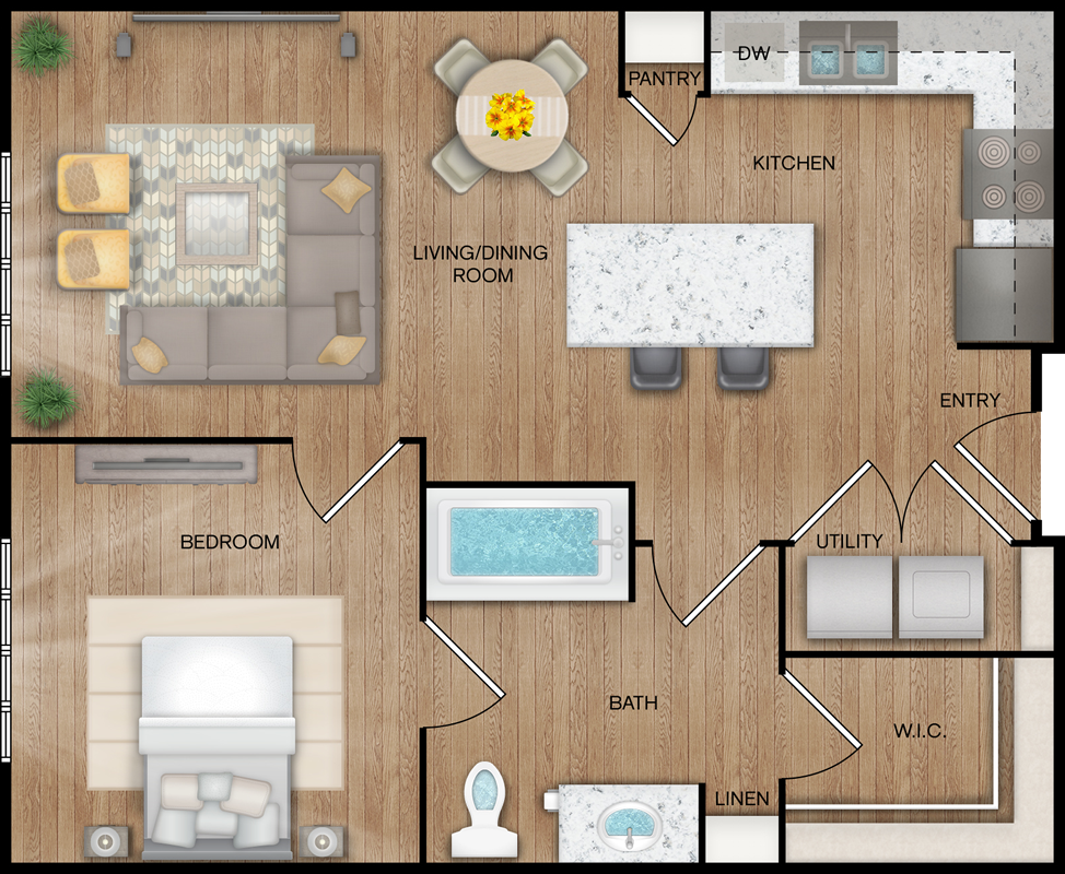 A1 - One Bedroom / One Bath - 679 Sq. Ft.*