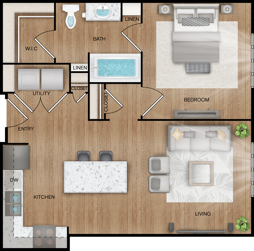 A2 - One Bedroom / One Bath - 699 Sq. Ft.*