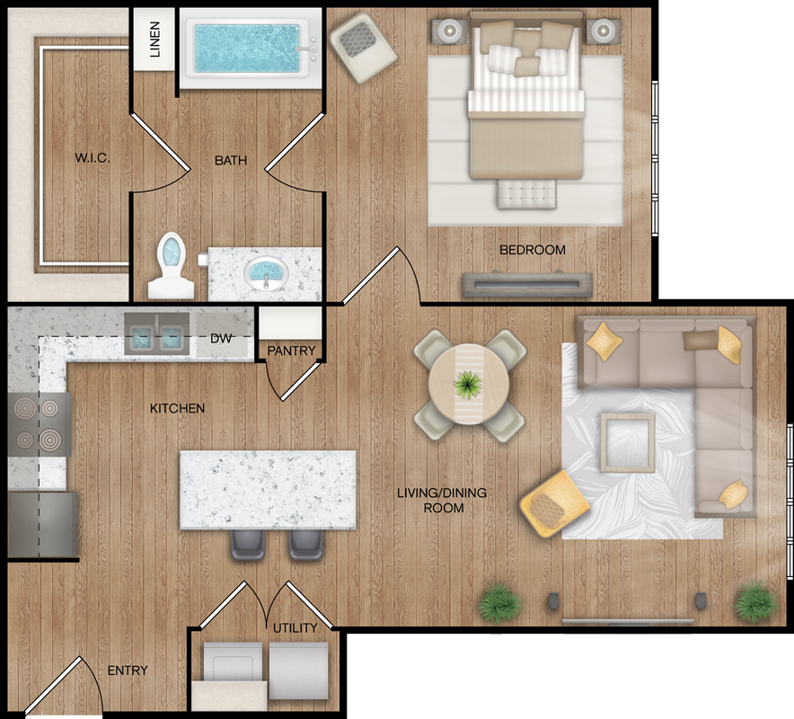 A3 - One Bedroom / One Bath - 719 Sq. Ft.*