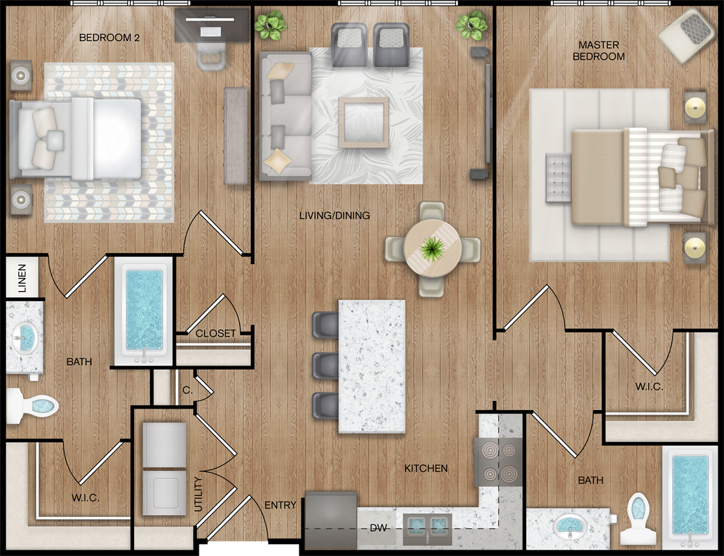 B1-Alt - Two Bedroom / Two Bath - 1,032 Sq. Ft.*