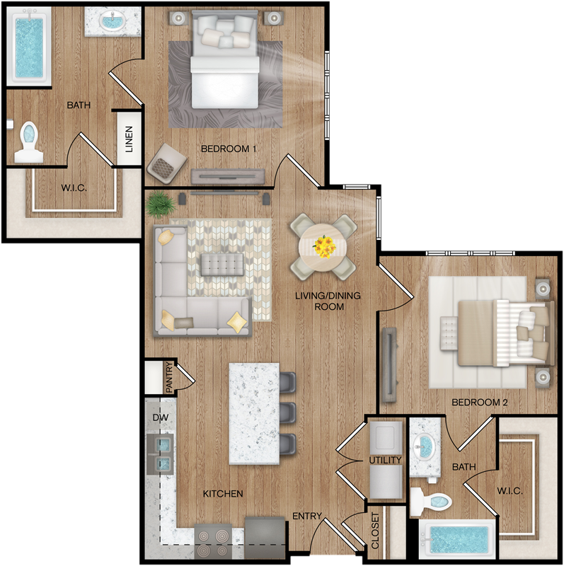 B2 - Two Bedroom / Two Bath - 990 Sq. Ft.*
