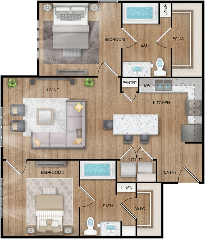 B3 - Two Bedroom / Two Bath - 971 Sq. Ft.*