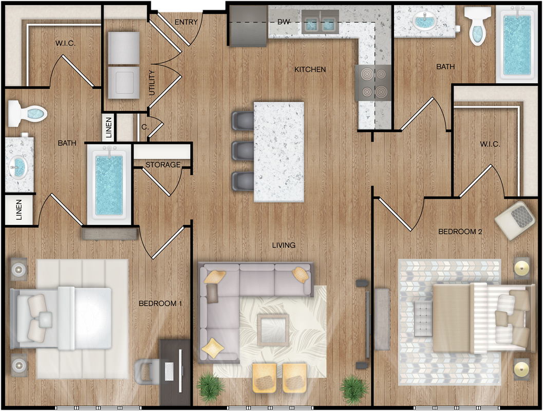 B5 - Two Bedroom / Two Bath - 1,018 Sq. Ft.*